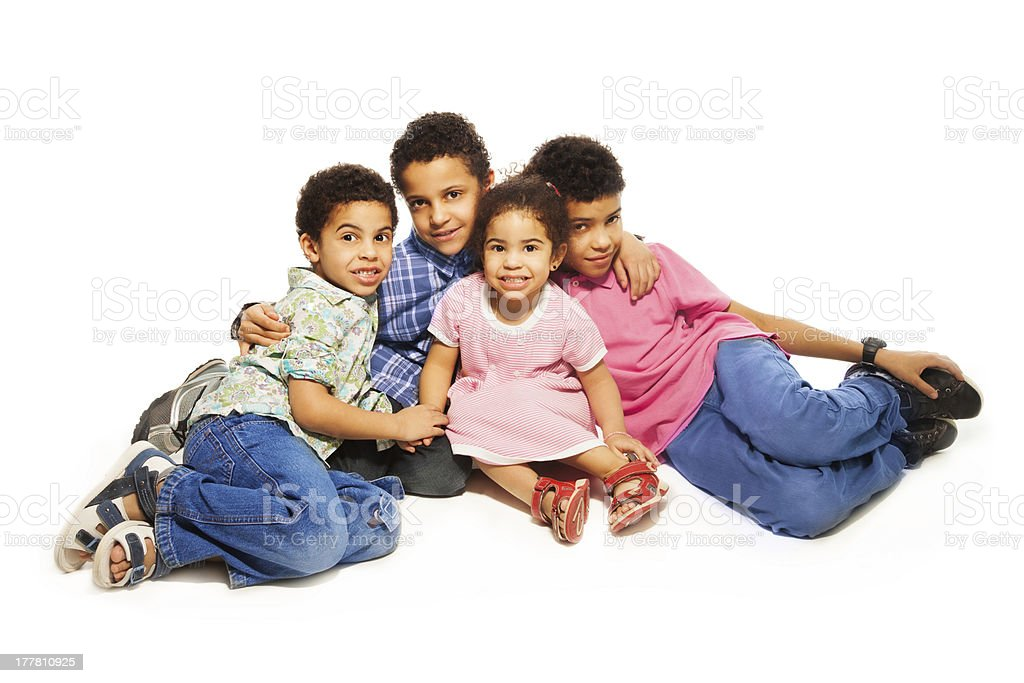 Group portrait of black siblings royalty-free stock photo