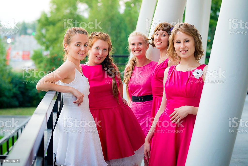 Group portrait of bride and her bridesmaids royalty-free stock photo