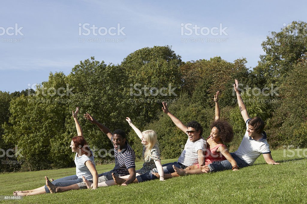 Group portrait of friends having fun outdoors royalty free stockfoto