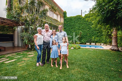 1196170672istockphoto Group Portrait of Hispanic Family in Lush Backyard with Pool 1190129428