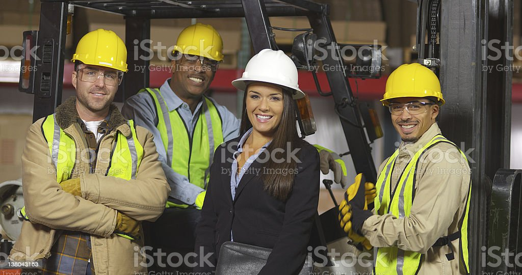 Group portrait of industry workers stock photo