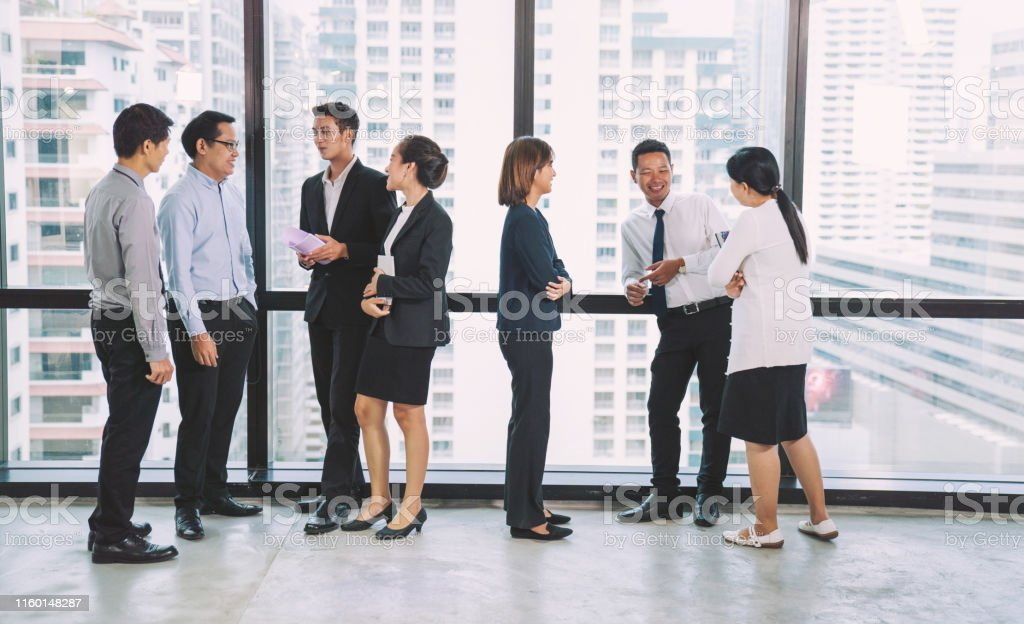 Group Portrait young creative business person working success project...