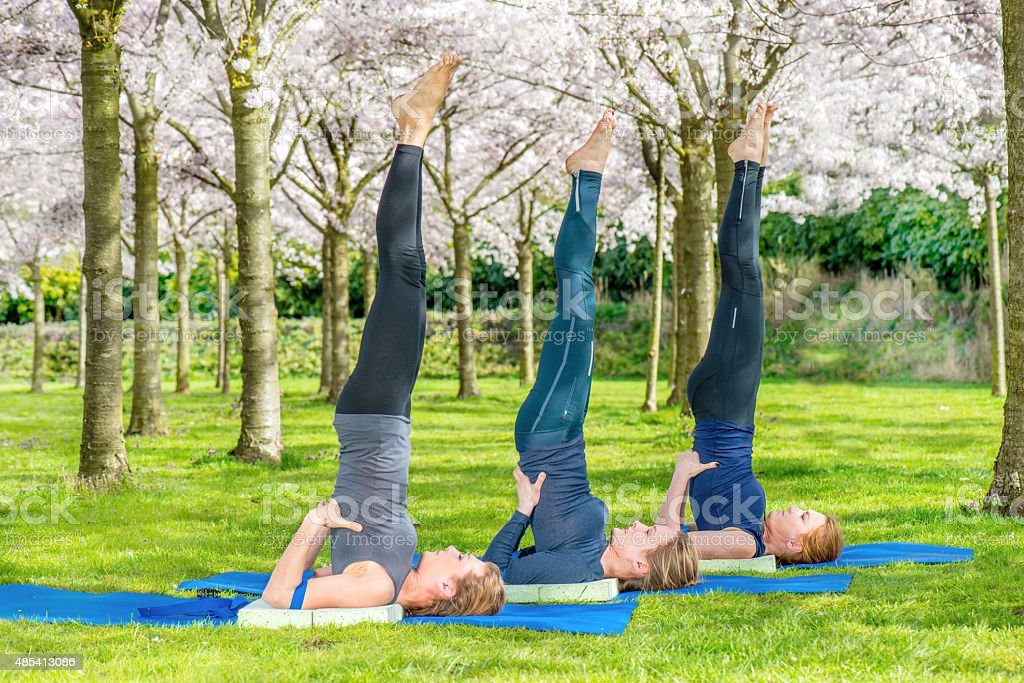 Group practicing shoulder stand stock photo
