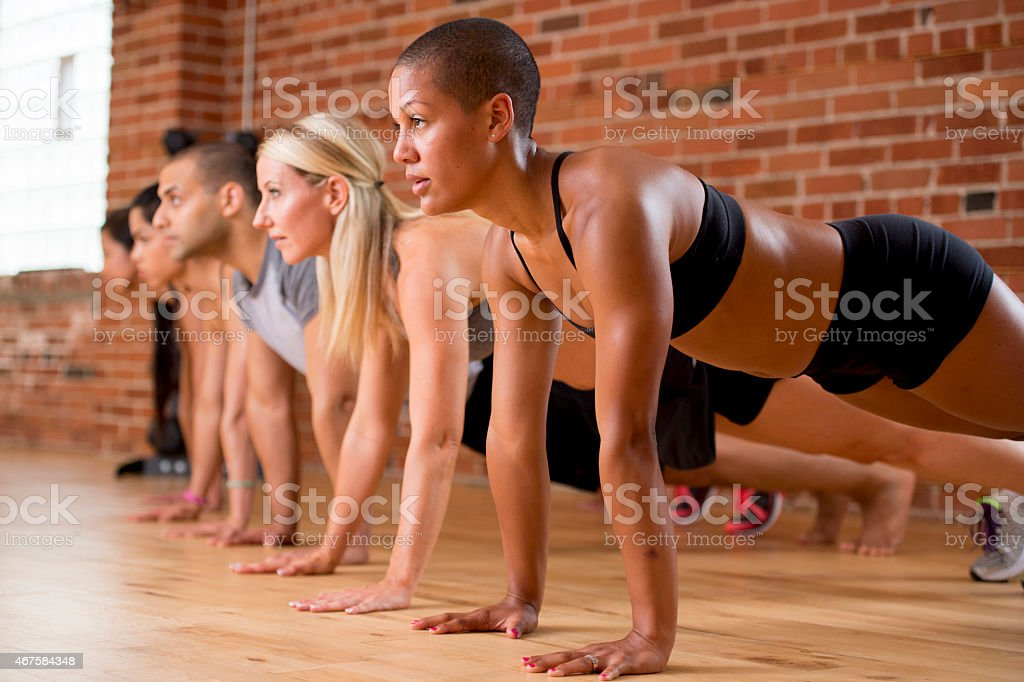 Group Push Ups stock photo