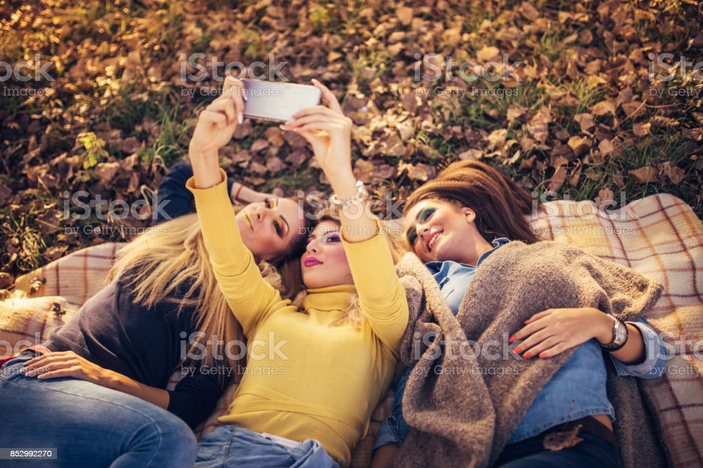 Group selfie in nature stock photo
