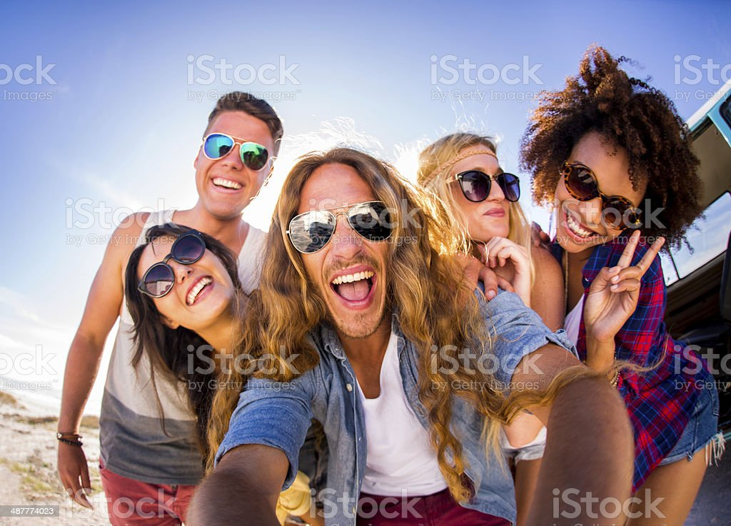 Group selfie stock photo