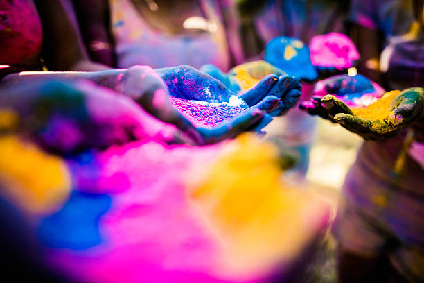 Group shot of Hands Holding Holi Powder Group shot of hands covered in colors, holding colorful powder during a Holi festival in a park colored powder stock pictures, royalty-free photos & images