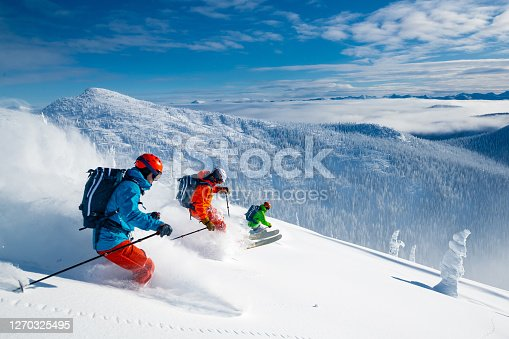 Powder skiing in the backcountry.
