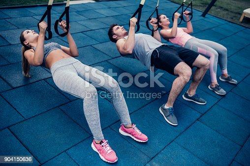 904150892 istock photo Group suspension training 904150636