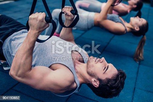 904150892 istock photo Group suspension training 904150652