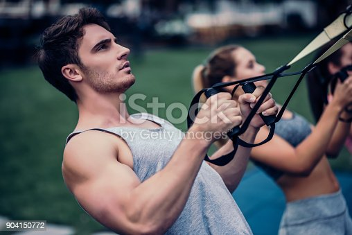 904150892 istock photo Group suspension training 904150772
