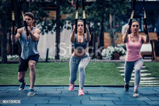 904150892 istock photo Group suspension training 904150828