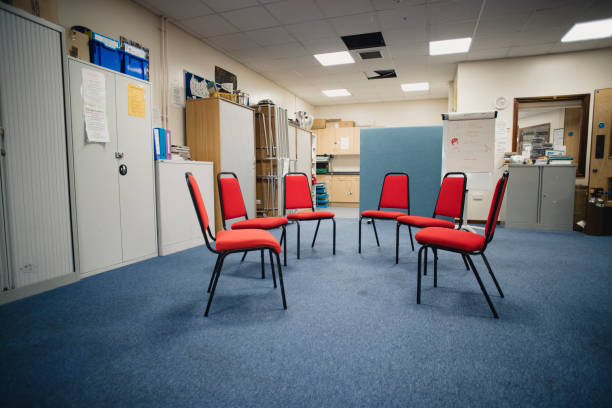 Group Therapy Room Rehabilitation centre room prepared for a group therapy session. drug rehab stock pictures, royalty-free photos & images