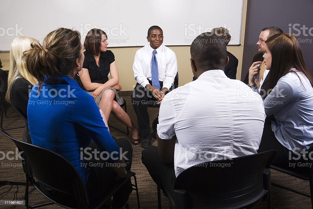 Group therapy session stock photo