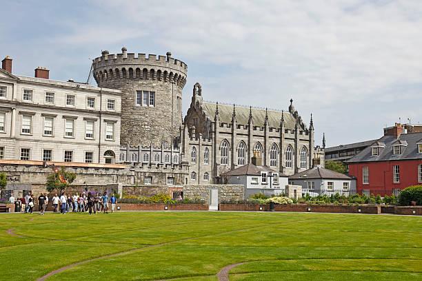 Group tour, Dubhlinn Gardens, Dublin Castle, Ireland