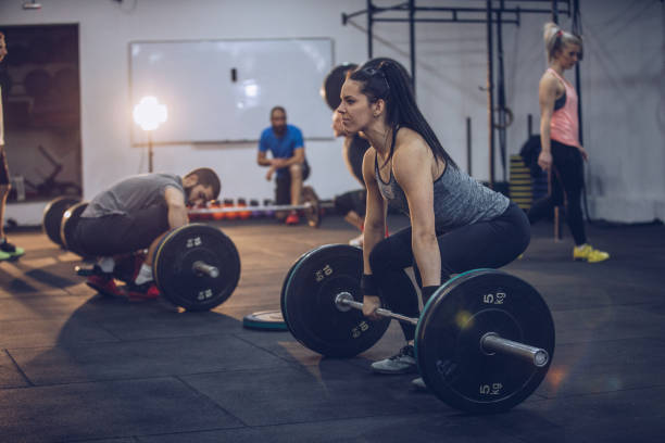 Group training in gym stock photo