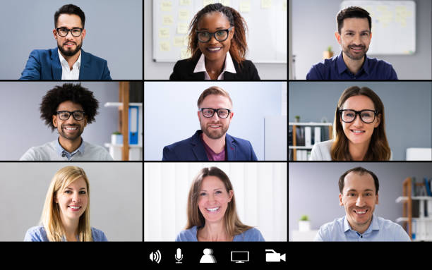 Group Video Conference Screen stock photo