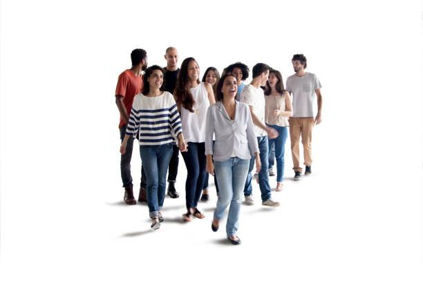 Group walkin on white background stock photo