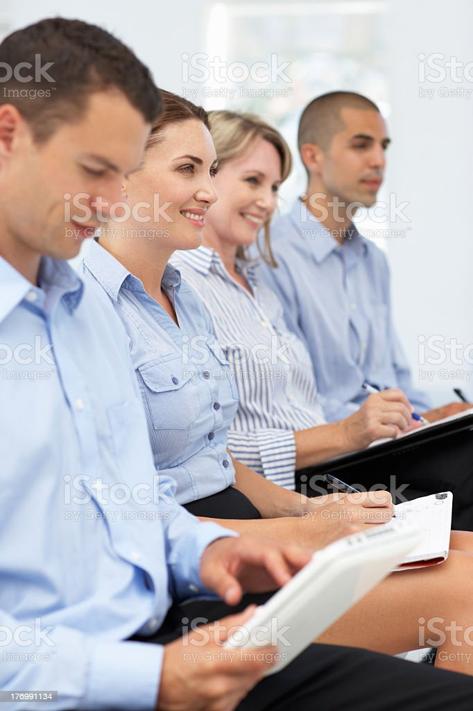 Group watching business presentation royalty-free stock photo