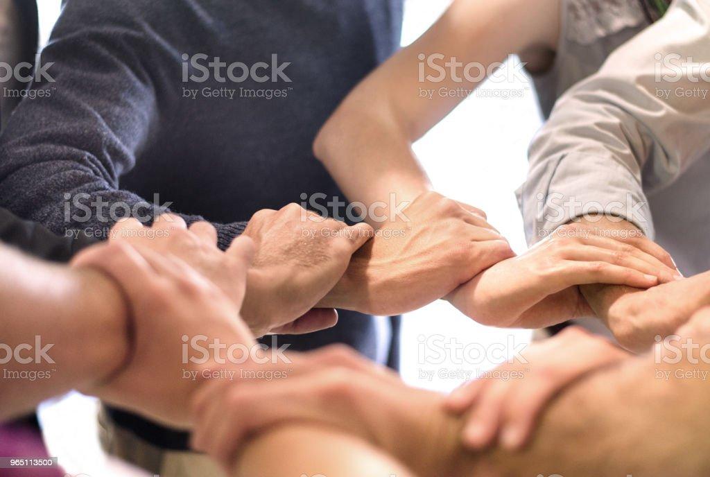 Group With Hands Together - zdjęcia stockowe i więcej obrazów Biuro