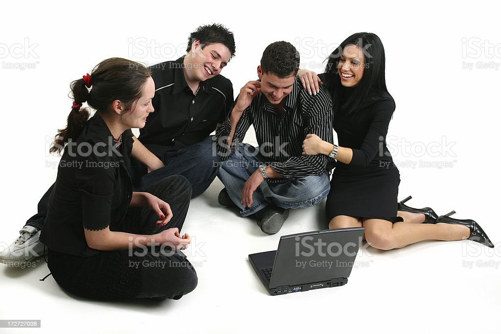 Group with laptop royalty-free stock photo