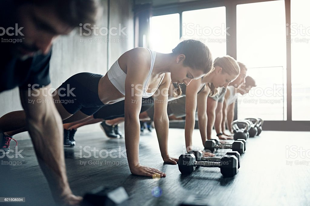 Group workouts rule the day foto stock royalty-free