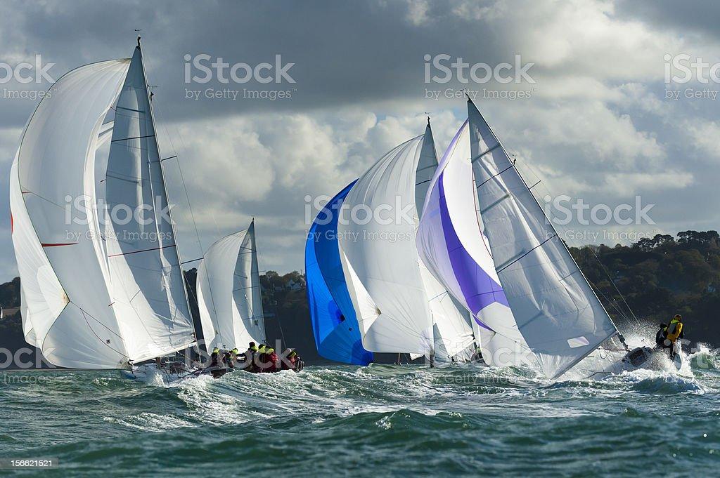 group yacht at regatta stock photo