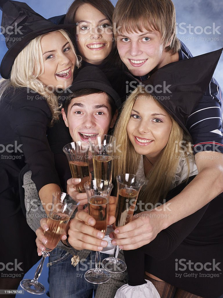 Group young people drinking champagne . royalty-free stock photo