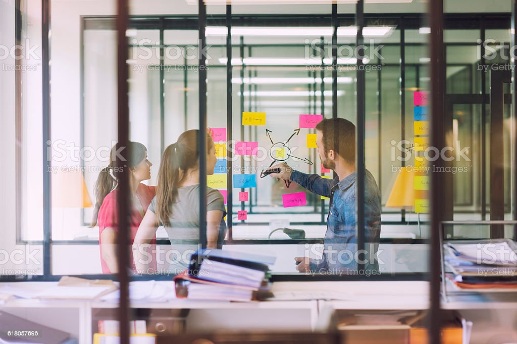 Groupe of business team working in front of glass wall stock photo