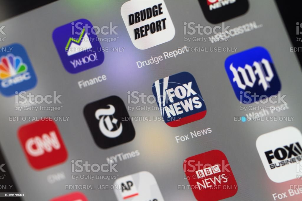 Grouping Of Popular News Mobile Apps Stock Photo - Download Image