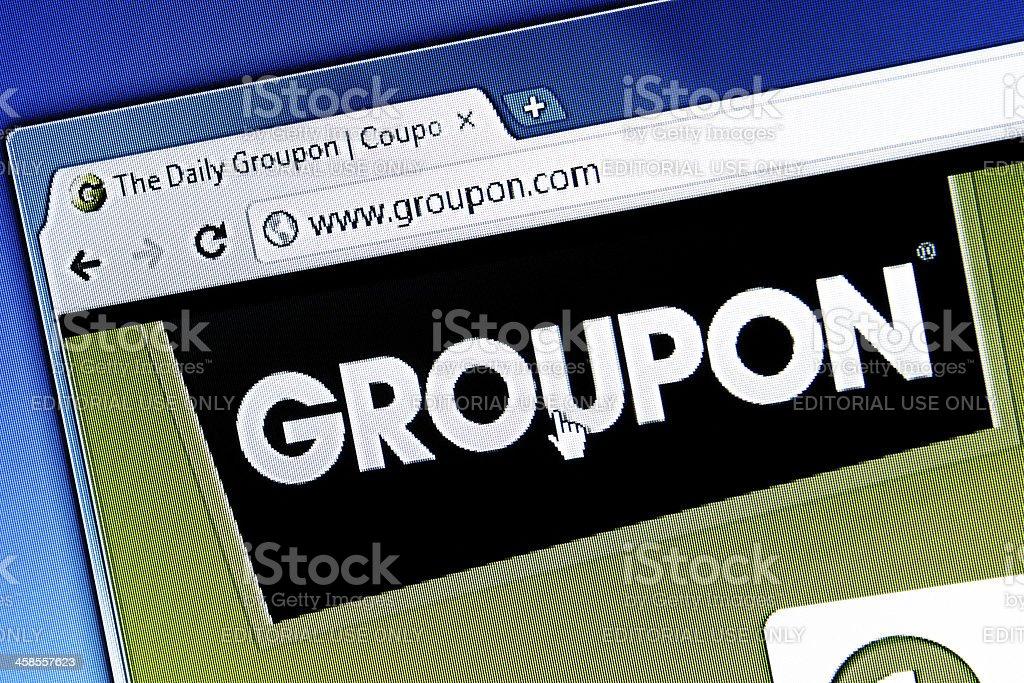 Groupon Logo in Homepage, Chrome Web Browser stock photo