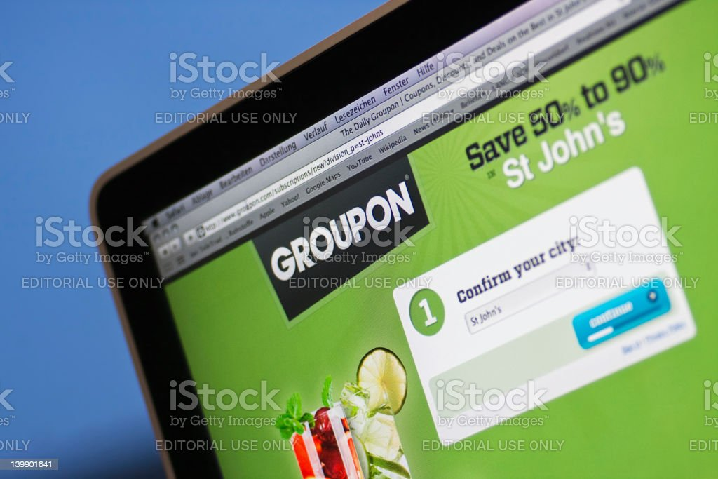 Groupon the coupon website. stock photo