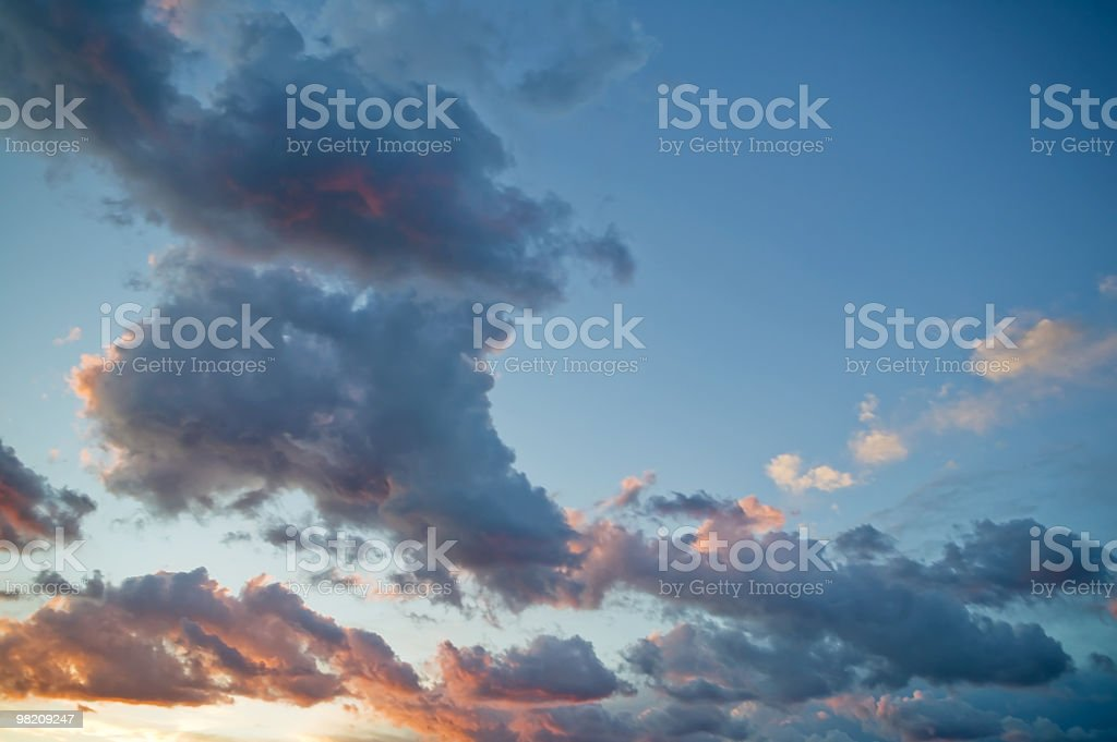 groups of clouds to the sunset royalty-free stock photo
