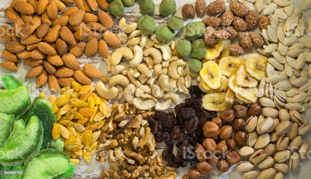 Groups of healthy nuts. stock photo