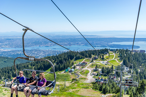 Grouse Mountain chair lift, windmill and wood carvings are some of the sights here