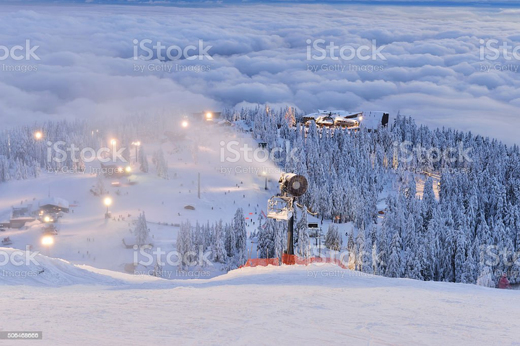 Grouse Mountain Ski Hills at sunset stock photo