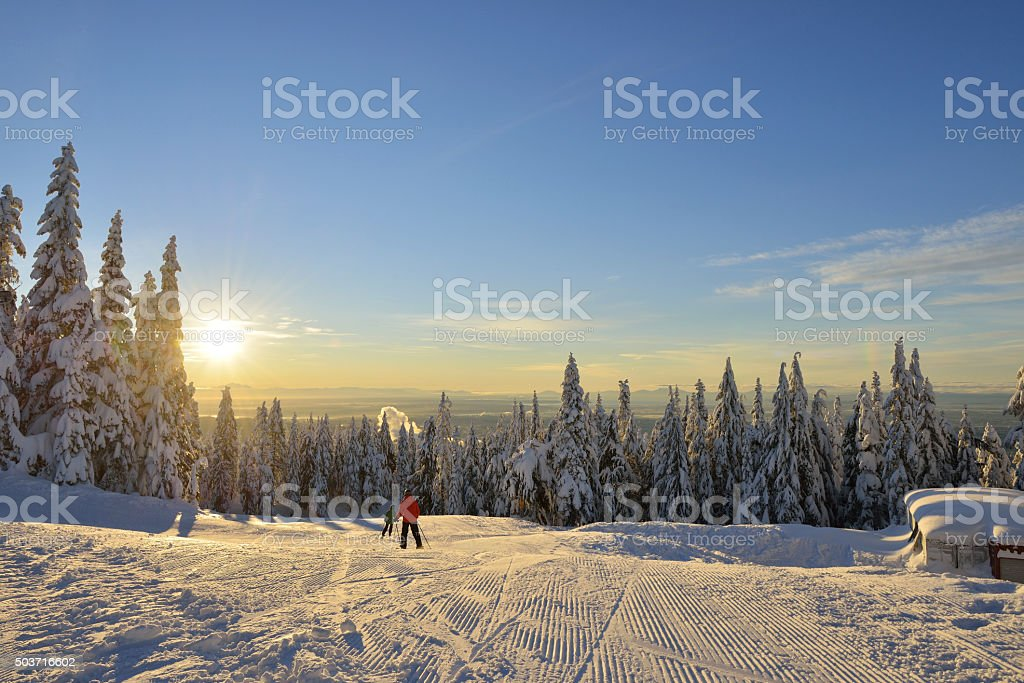 Grouse Mountain Ski Hills sunrise stock photo