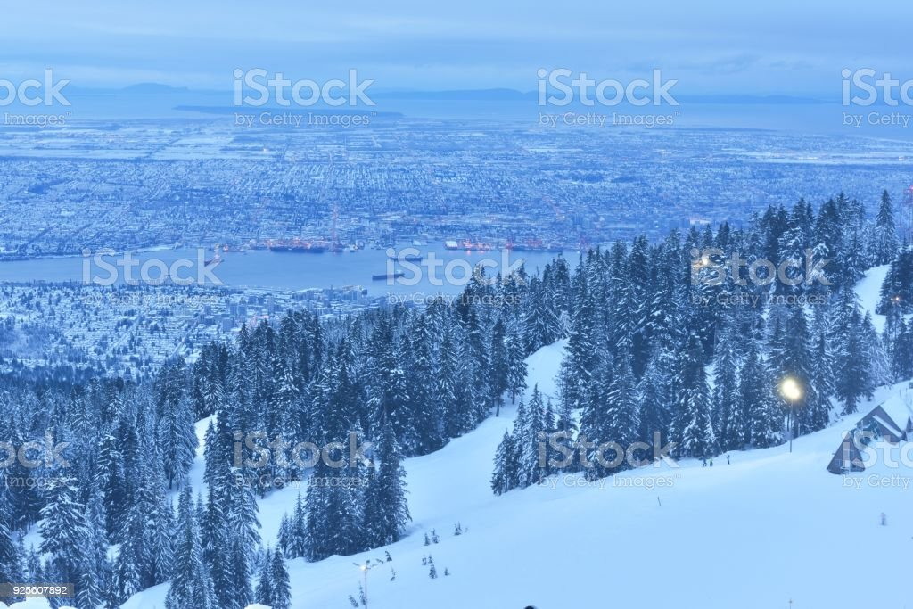 Grouse Mountain Winter Sunrise Vancouver BC Canada Royalty Free Stock Photo