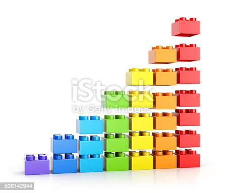 Growth graph diagram. Assembling colorful toy building blocks isolated on white background. 3D illustration