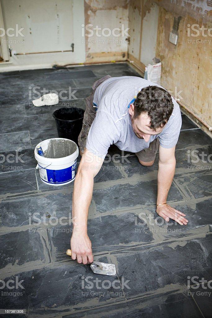 grouting tiles royalty-free stock photo