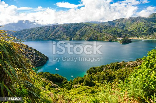 View from the Queen Charlotte Track hiking trail lookout to the Grove Arm of Queen Charlotte Sound, a part of the Marlborough Sounds sea-drowned valleys network in South Island of New Zealand
