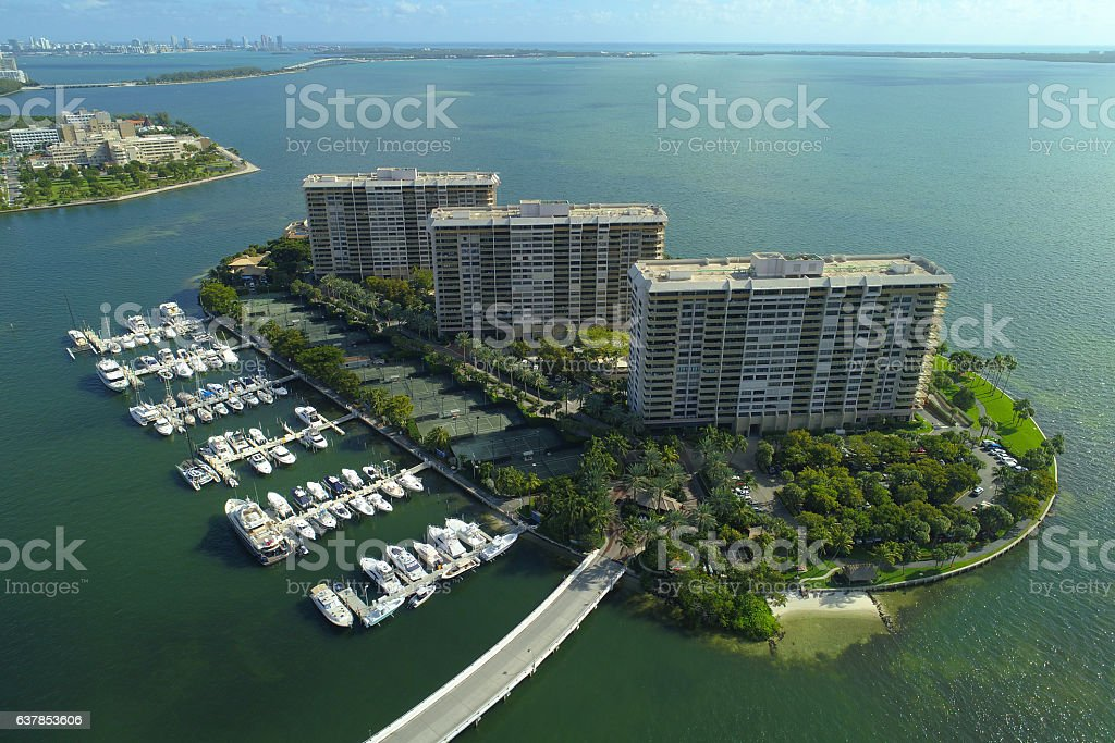 Grove Isle aerial image stock photo