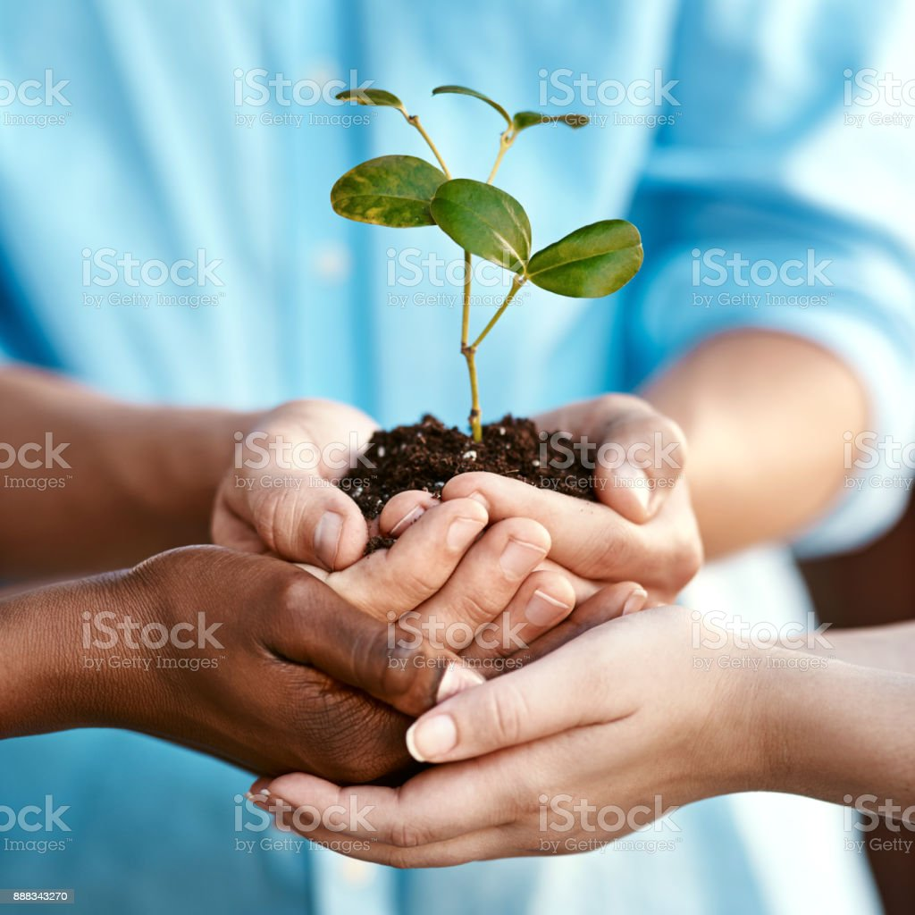 Growing a better future together stock photo