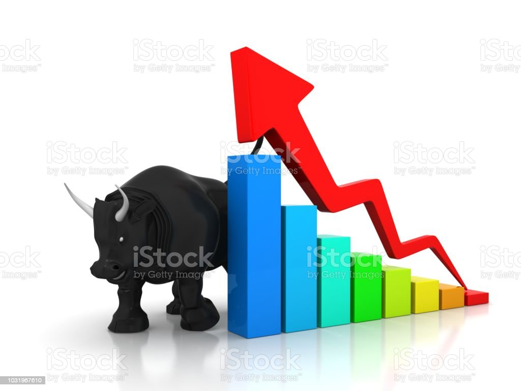 Growing Arrow With Bull stock photo