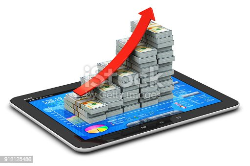 istock Growing bar graph from US dollars on tablet with stock exchange app 912125486
