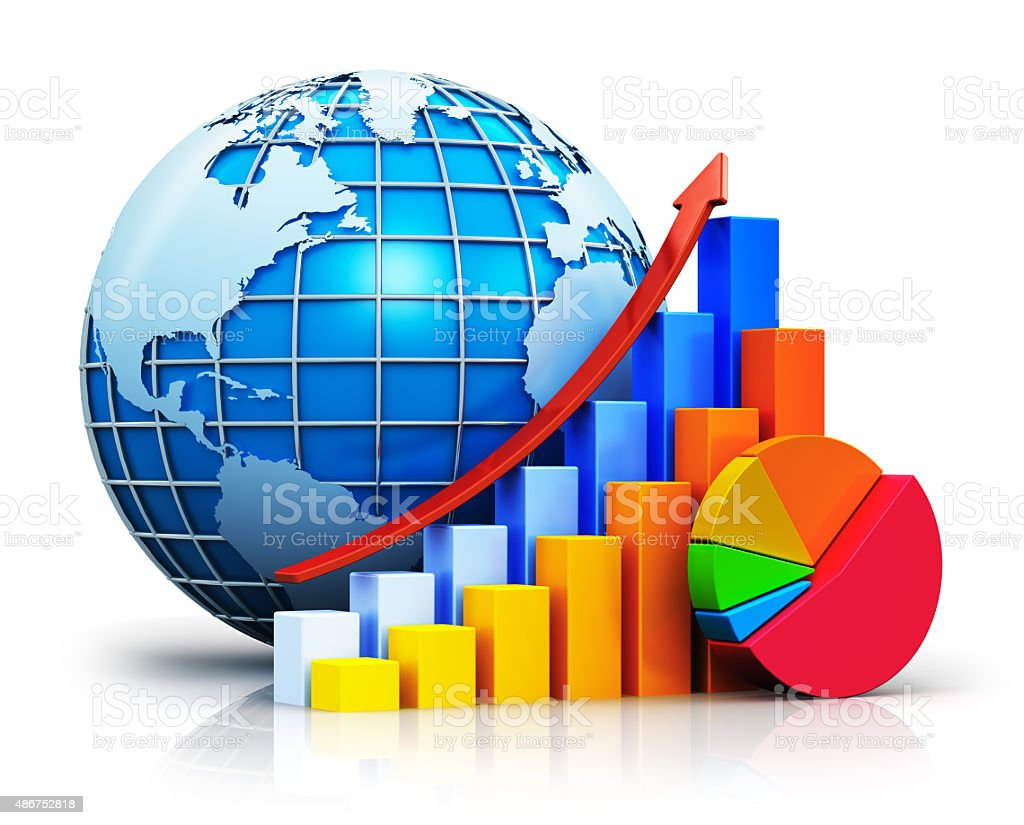 Growing bar graphs pie chart and earth globe stock photo more growing bar graphs pie chart and earth globe royalty free stock photo nvjuhfo Gallery