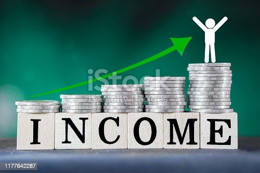 istock growing business ,income ,saving money concept with sack of coins and rising graph arrow up 1177642287