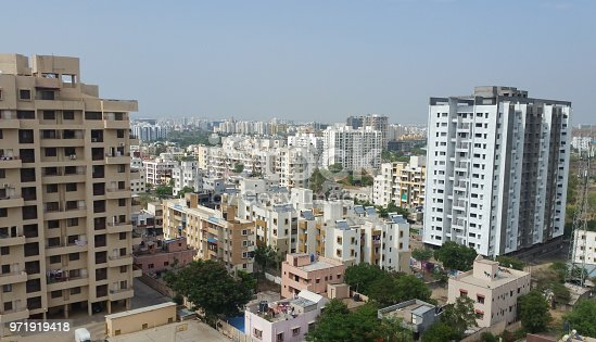 Concrete buildings showing growing cities in Asian developing countries
