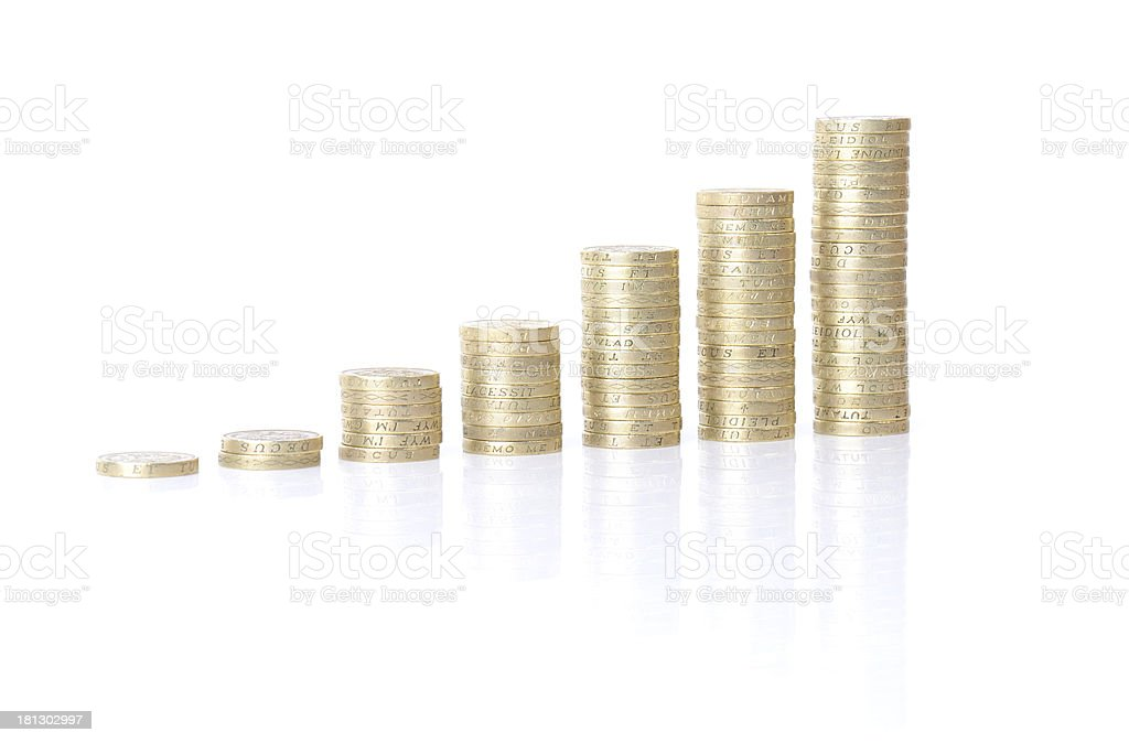 growing coin stacks stock photo