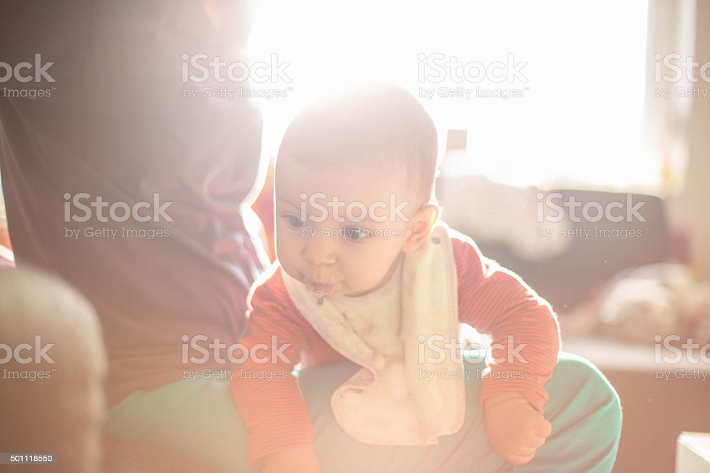 Growing first teeth stock photo